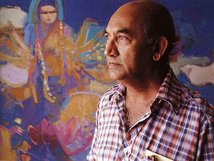 I.J. Boodhoo with his painting Song to Lakshmi. Photograph by Bruce Paddington
