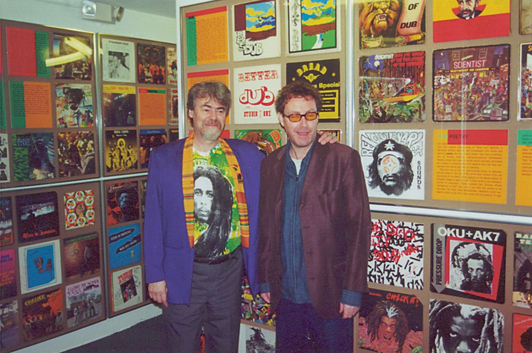 Roger Steffens (left) with the designer of the Queen Mary exhibition