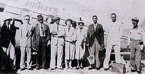 Some of the University's first students arrive in Jamaica on BWIA, October 1948