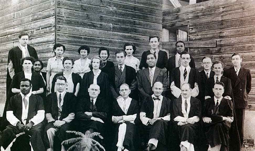Staff of University College, 1950. Dr Taylor, first principal, centre front row; Philip Sherlock to his left