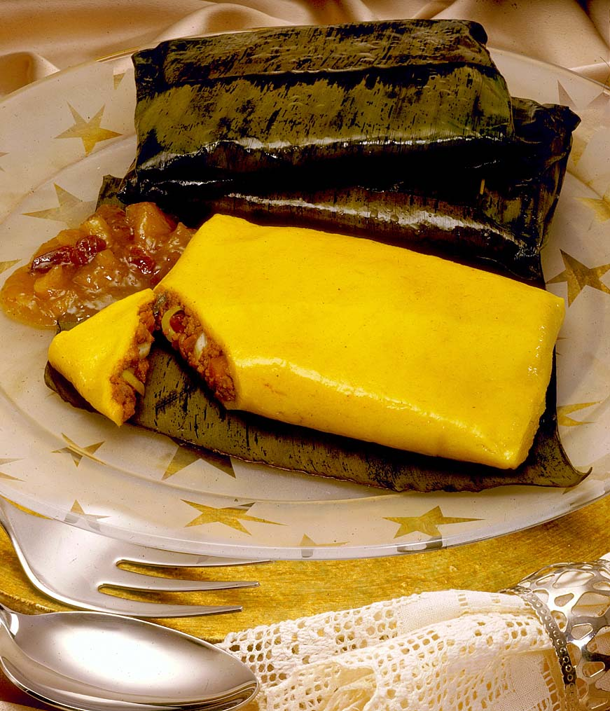 Wrapped in banana leaves, these pastelles are ready to serve. Photograph courtesy Nestlé Trinidad and Tobago Ltd
