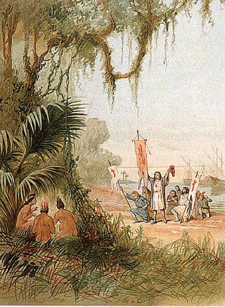 The fateful moment: Cristóbal Colón lands on Guanahani, which he renamed San Salvador, October 12, 1492