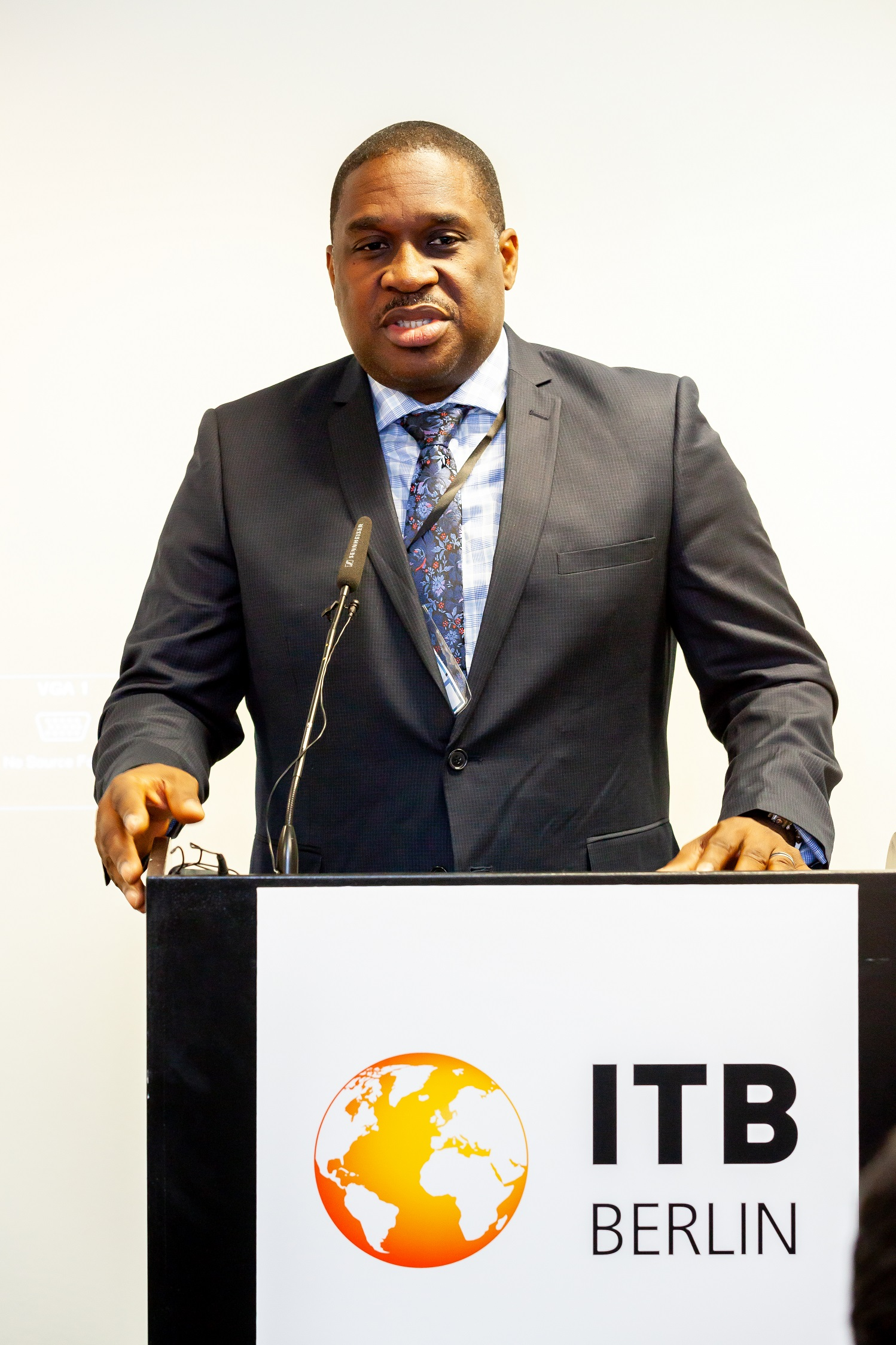 Louis Lewis, CEO of the Tobago Tourism Agency Limited addresses media and stakeholders in Berlin, Germany in this file photo from March 2019