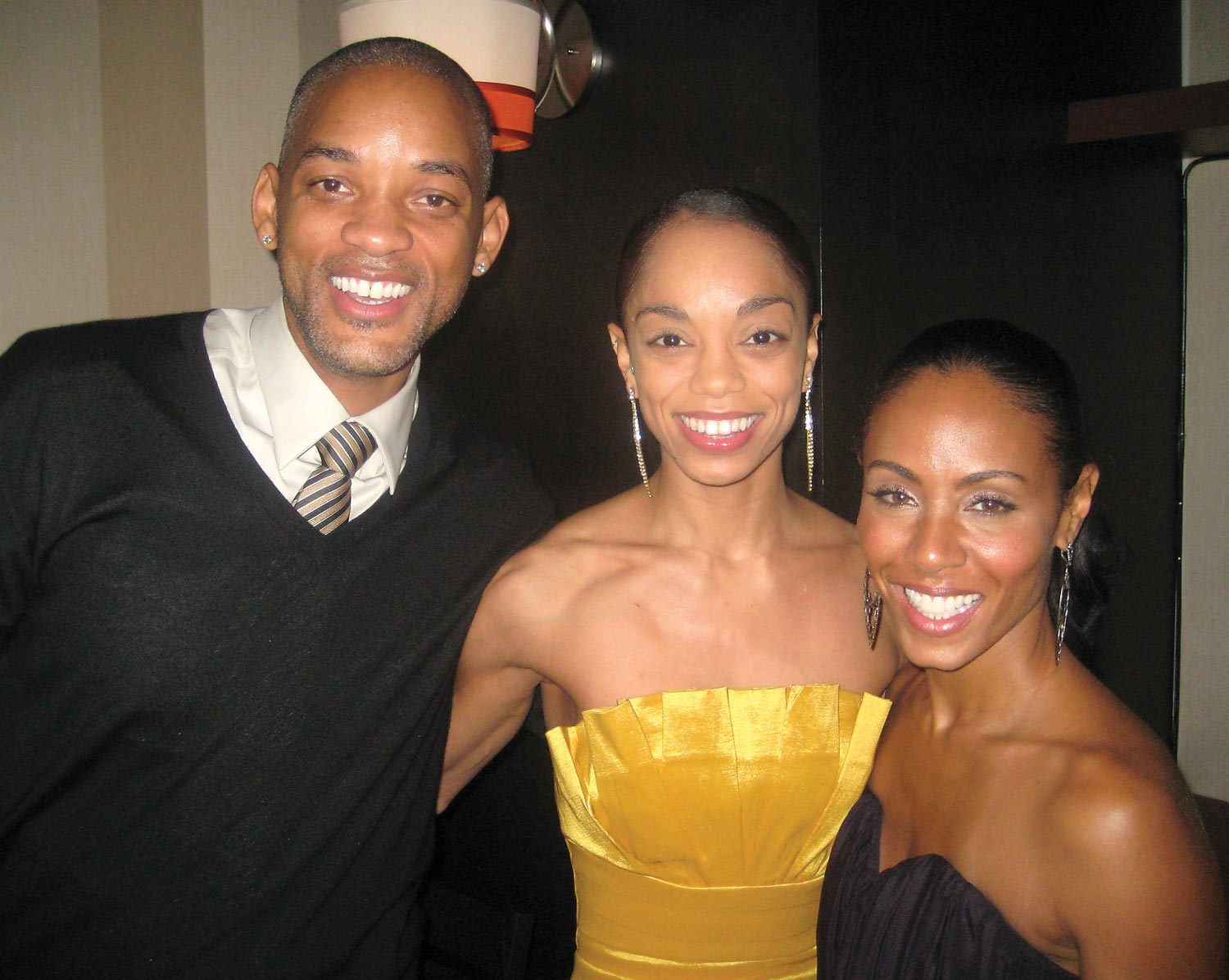 Nicole de Weever (centre) with actor Will Smith (left) and co-producer Jada Pinkett Smith at the grand opening of Fela. Photograph courtesy Nicole de Weever