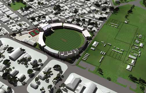 The architect's rendering of the renovated Queen's Park Oval in Port of Spain, Trinidad. Photograph courtesy ICC Cricket World Cup 2007 Local Organising Committee Trinidad And Tobago