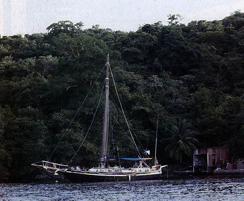 At anchor in Trinidad. Photograph by James Mellor
