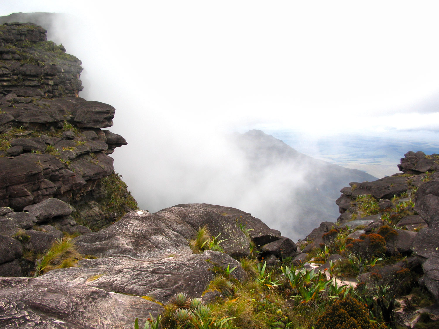 Looking back from the summit of Roraima through the 'gate'. Photograph by Nicholas Laughlin