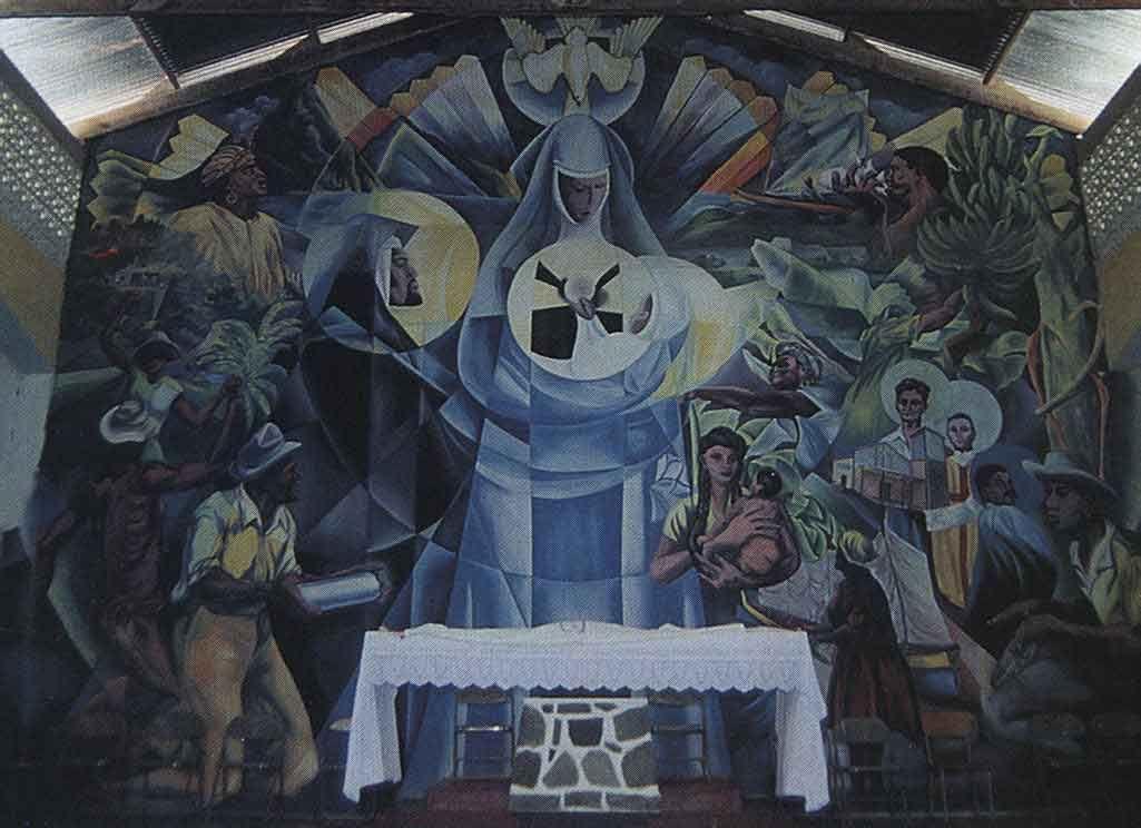 Dunstan St. Omer's mural, Roseau Church. Photograph by Nancy Atkinson