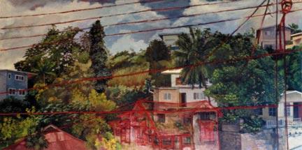 Neighbourhood (1992), 4' x 7'. Photograph courtesy Irénée Shaw