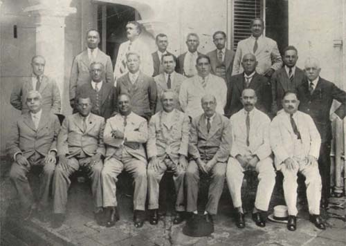 Port of Spain City Council, 1939. Gomes is fourth from right in middle row. Photograph from the collection of Adrian Camps-Campins