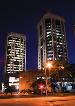 """The Eric Williams Financial Complex — Trinidad's """"twin towers"""". Photograph by Mark Lyndersay"""