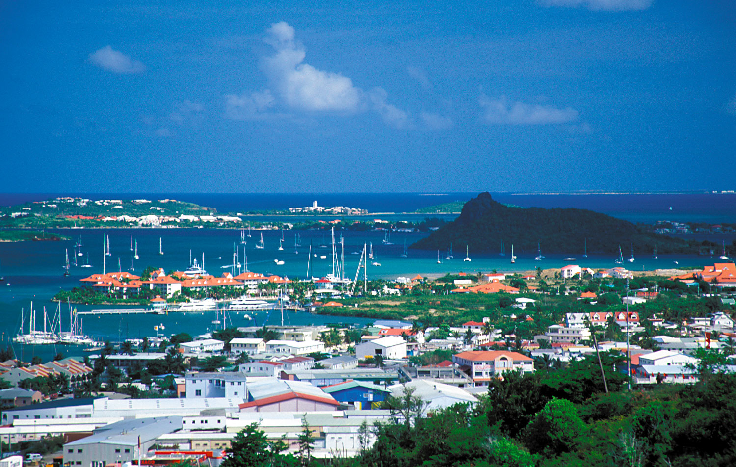 The view over Simpson's Bay Lagoon, bisected by the Dutch-French border. Photograph by Donald Nausbaum