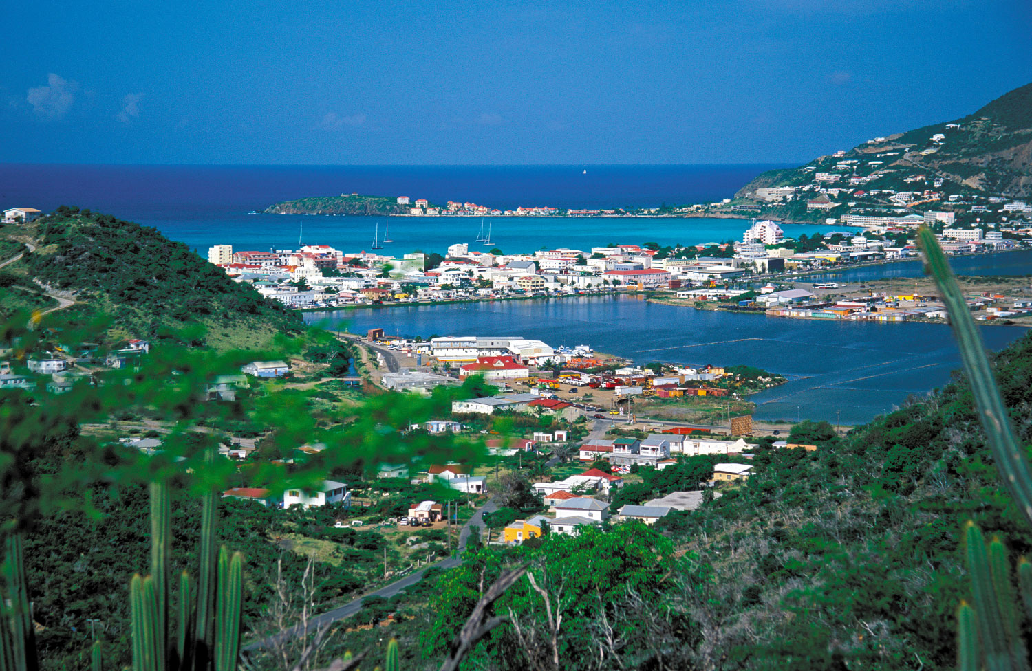 Philipsburg sits on a sandspit between the Salt Pond and Great Bay. Photograph by Donald Nausbaum