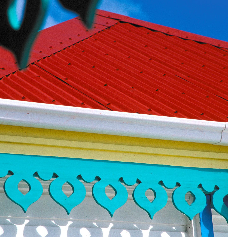 Colourful fretwork in Philipsburg. Photograph by Donald Nausbaum