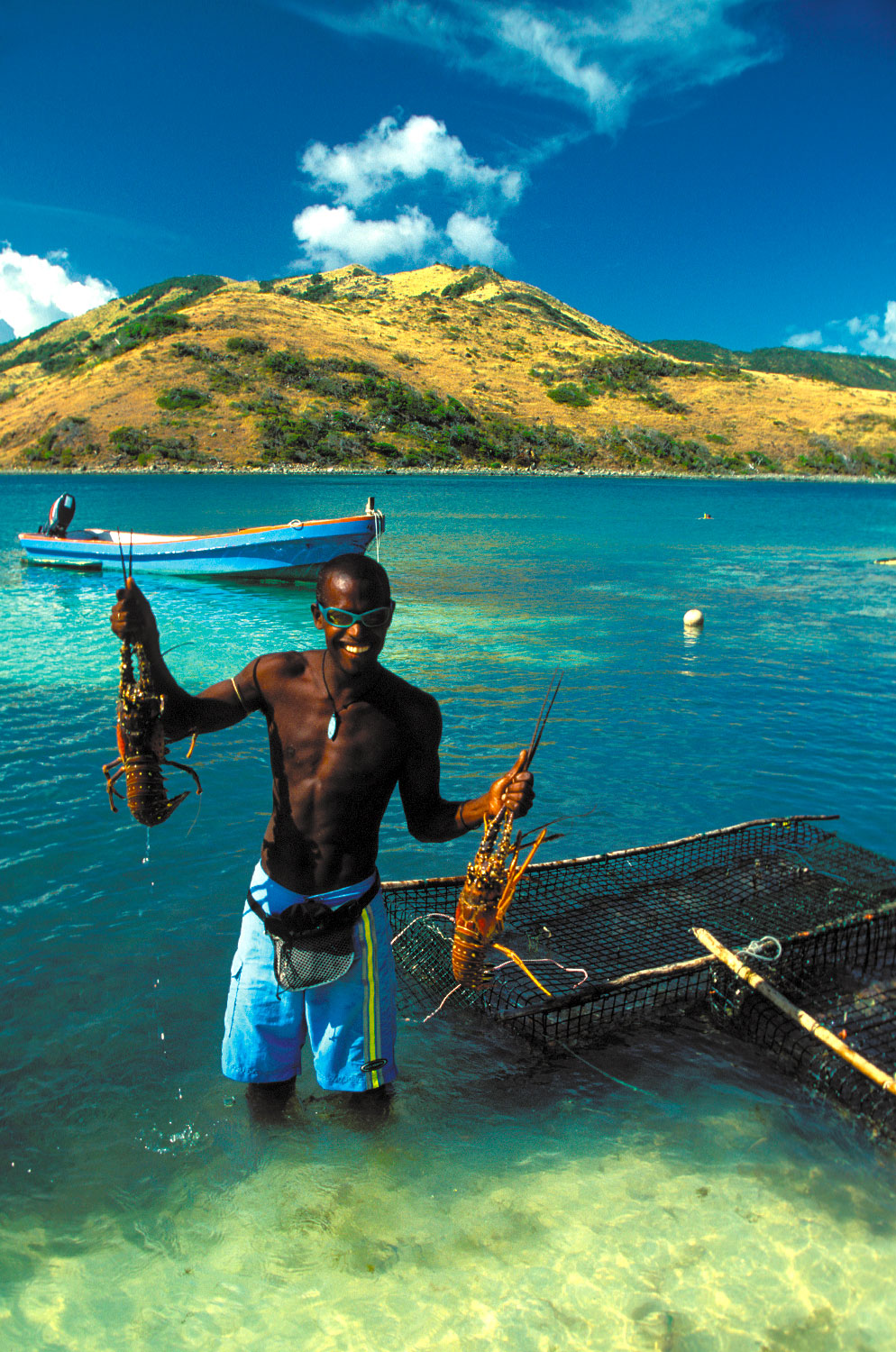 Lobsters caught off Pinel Island will have a starring role at dinner in Grand Case in just a few hours. Photograph by Donald Nausbaum