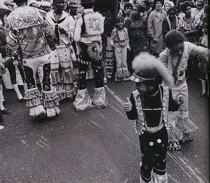 These were among the first children to play mas in the streets of London. Photograph by Horace Ové
