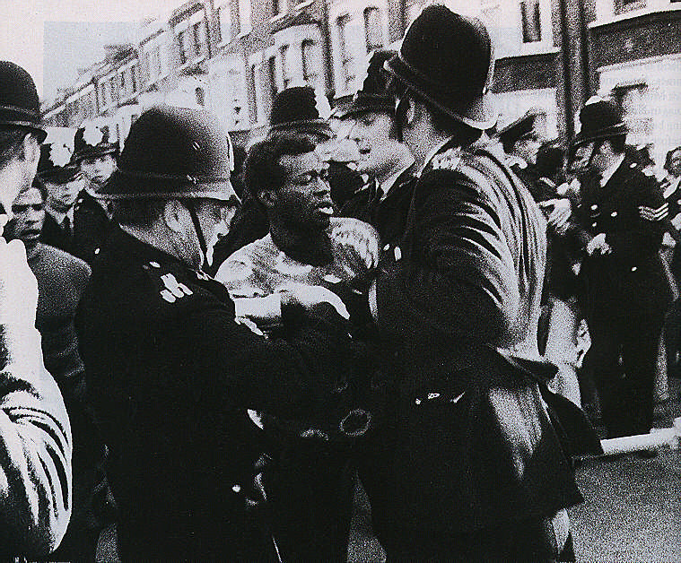 Early days of confrontation. Photograph by Horace Ové