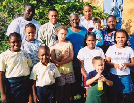 Mavis Williams and some of her children. Photograph courtesy FirstCaribbean International Bank