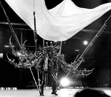 Mancrab, the techno-nightmare king of River (1983), portrayed by Peter Samuel. Photograph by Mark Lyndersay