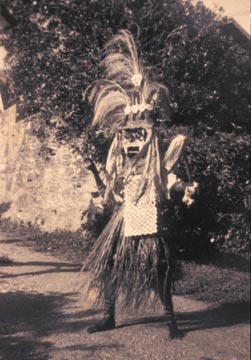Peter Minshall at the age of 12 in the witch-doctor costume he designed and made. Photograph courtesy the Callaloo Company