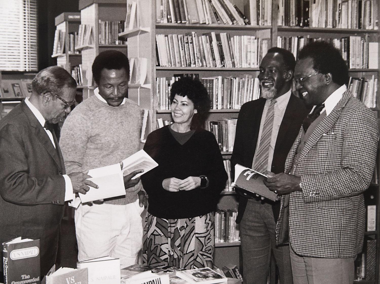 Senior (centre) with Guyanese poet A.J. Seymour, Trinidadian Earl Lovelace, Jamaican poet Mervyn Morris, and Austin Clarke. Photograph courtesy Olive Senior