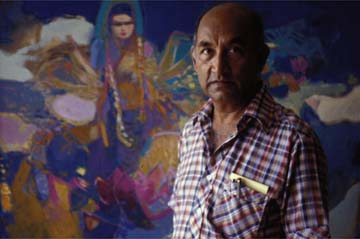 Isaiah James Boodhoo in 1992, with his painting Song to Lakshmi