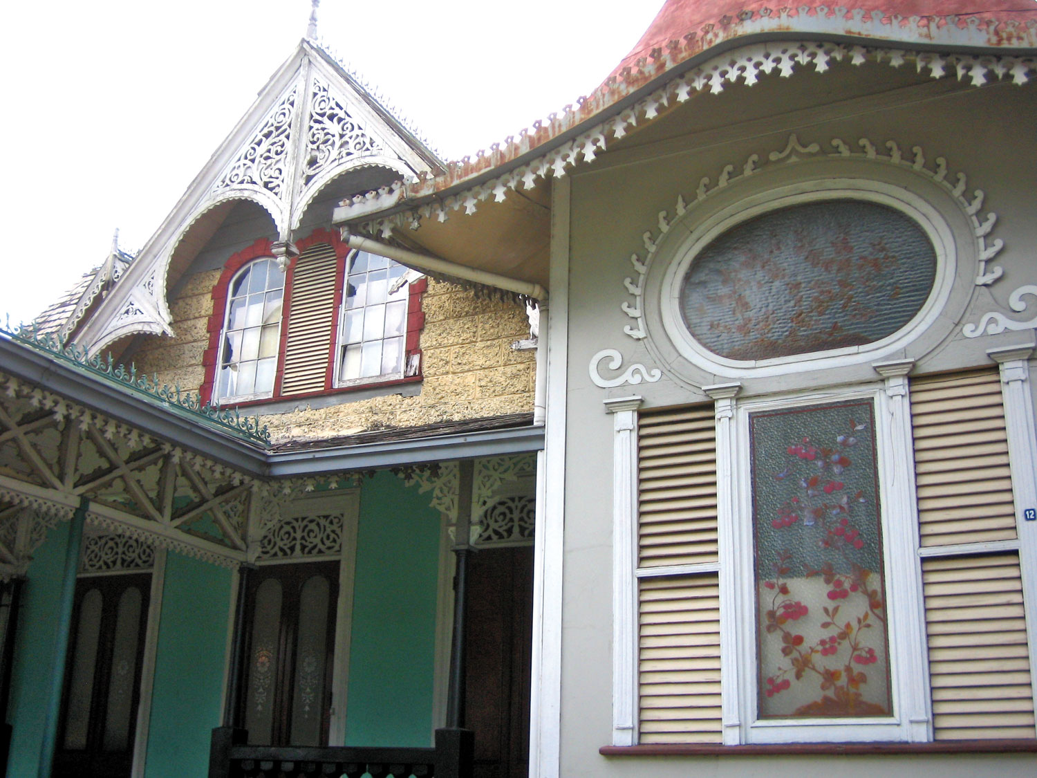 The front facade of the Boissiere House, 12 Queen's Park West, Port of Spain, Trinidad. Designed by architect Edward Bowen. Photograph by Nicholas Laughlin