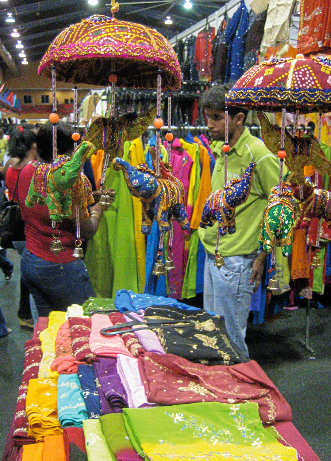 Clothing and scarves from India are huge hits at the Indian trade fairs. Photograph by James Fuller