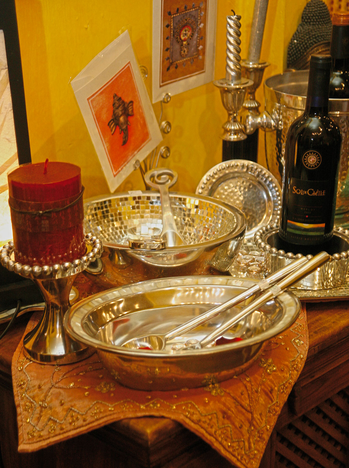 Decorative bowls, picture frames and candle holders at House of Jaipur. Photograph by Shirley Bahadur