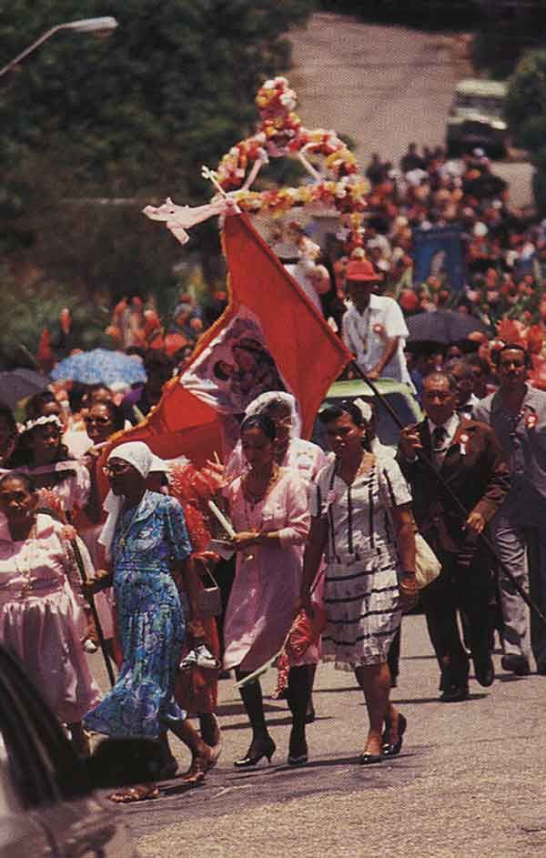 Descendants of the Caribs in procession at Santa Rosa. Photograph by Noel Norton