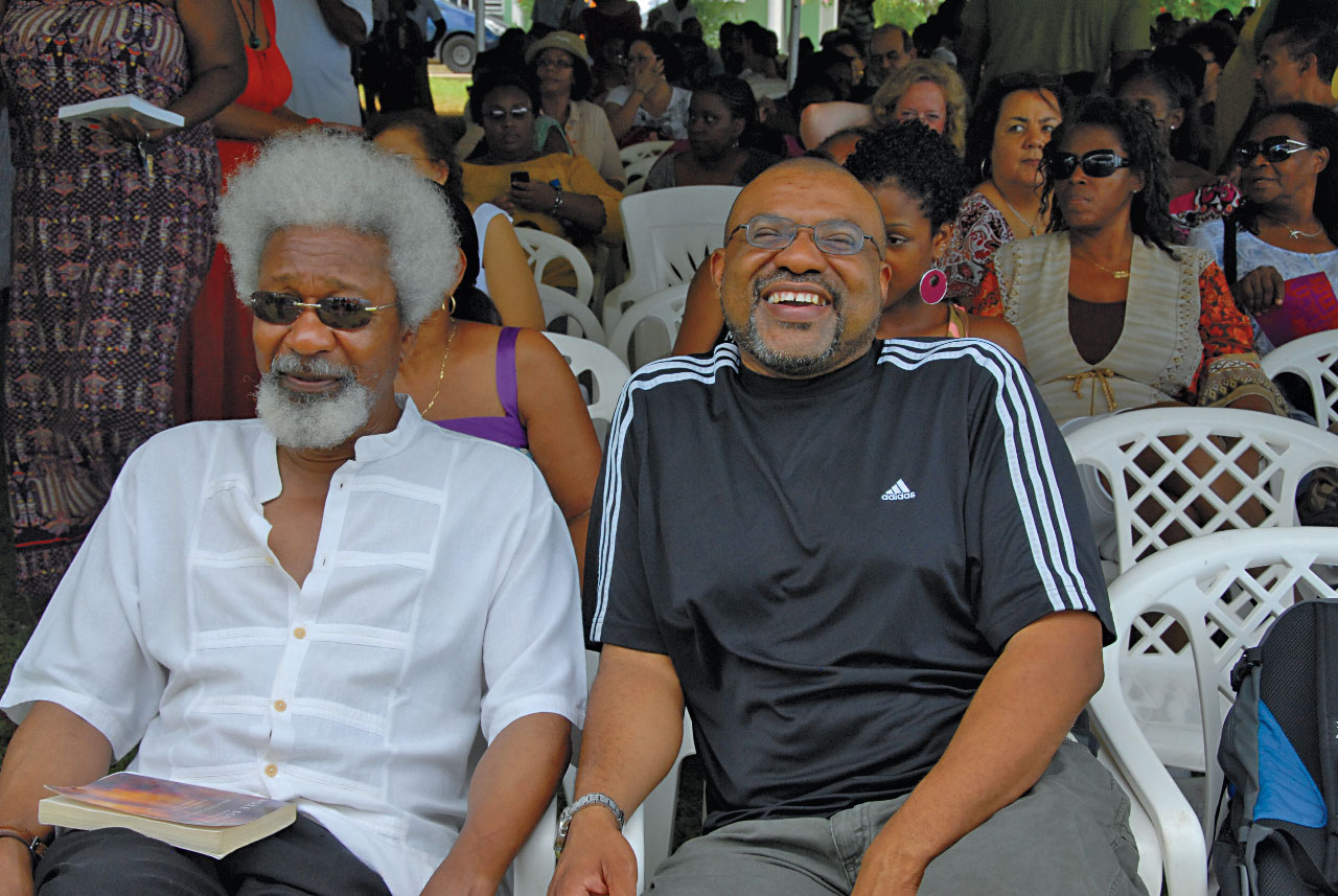 Nobel laureate Wole Soyinka (left) with poet Kwame Dawes, Calabash programming director. Photograph by Hugh Wright