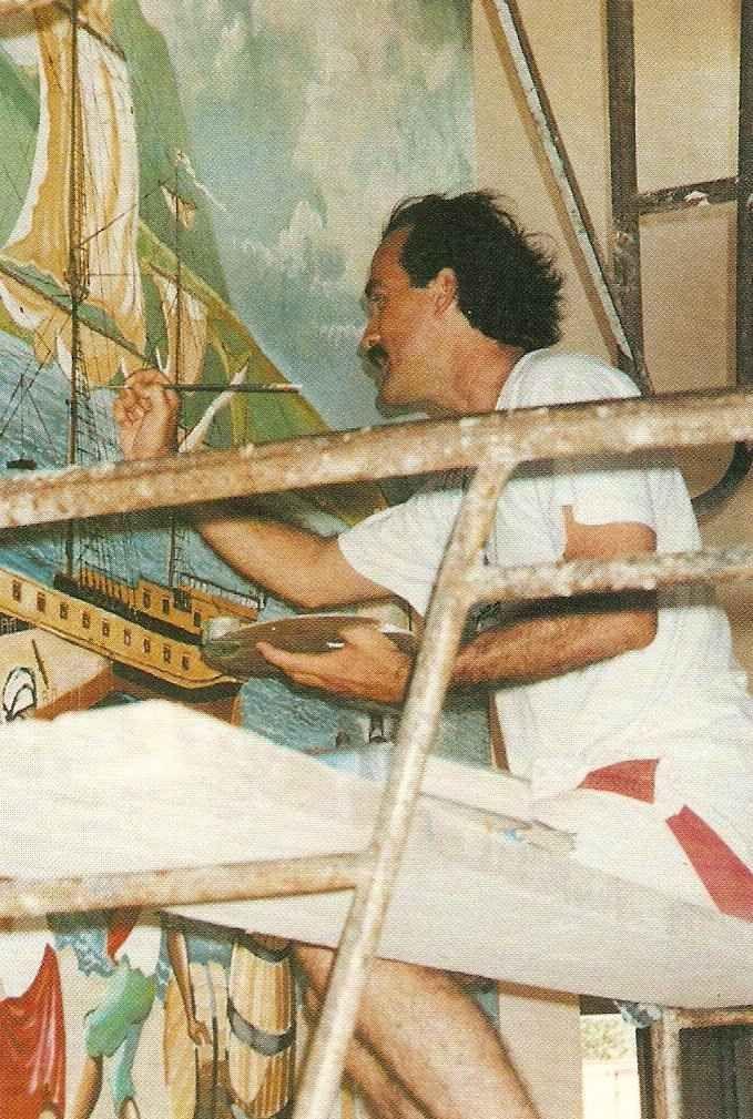 Lennox Honychurch at work. Photograph courtesy Lennox Honychurch