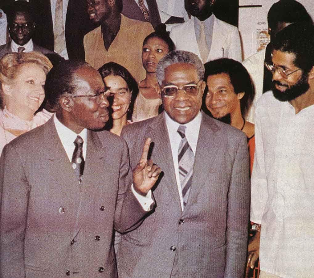 Aimé Césaire with his university friend, fellow poet Léopold Senghor, President of Senegal 1960-80. Photograph by Marie-Claire Delbé