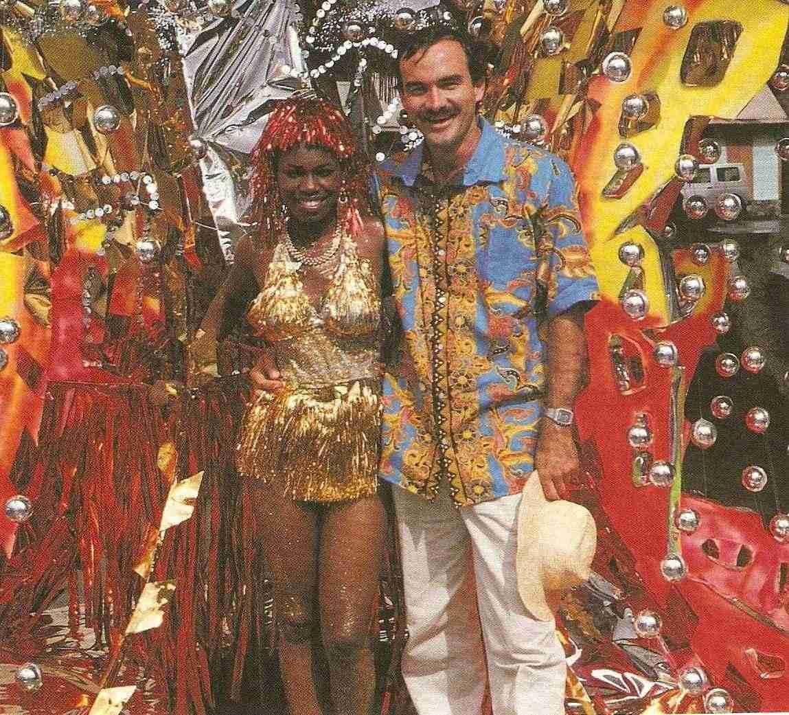 Carnival Queen contestant Antonilla Matthew displays one of Lennox Honychurch's costume designs- The Boiling Lake, celebrating Dominica's volcanic pool. Photograph courtesy Lennox Honychurch