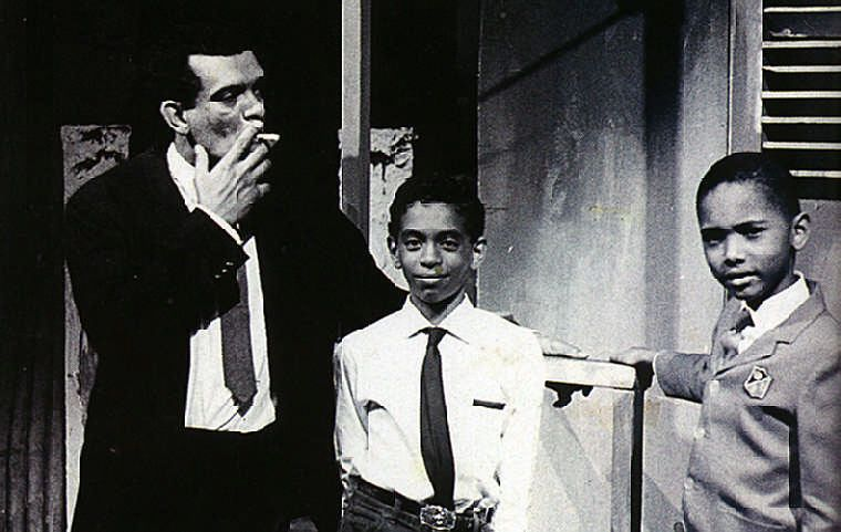Walcott and his son Peter on the set of the 1967 Trinidad Theatre Workshop production of Errol John's Moon on a Rainbow Shawl. Courtesy Derek Walcott