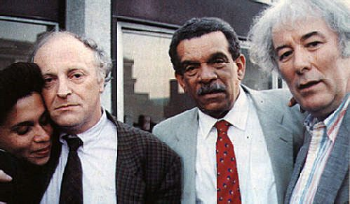 Poets incorporated: Walcott in Boston with Joseph Brodsky (left, with Walcott's daughter Anna) and Seamus Heaney. Photograph courtesy Derek Walcott