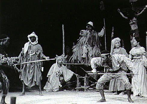 Stickfight: Albert La Veau in The Joker of Seville. Photograph courtesy the Trinidad Theatre Workshop