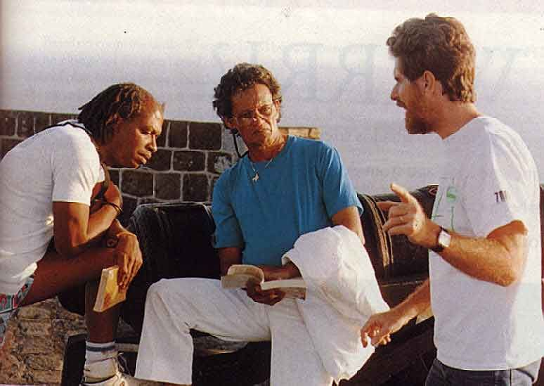 With Banyan colleagues Tony Hall (left) and Christopher Laird (right) at Brimstone Hill, St. Kitts. Photograph courtesy Caribbean Eye