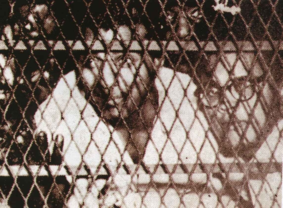 Carter takes his ride in a prison van with fellow detainees Cheddi Jagan (now Gayana's President) and Rory Westmaas 1954. Photograph courtesy Mirror Achives, Georgetown