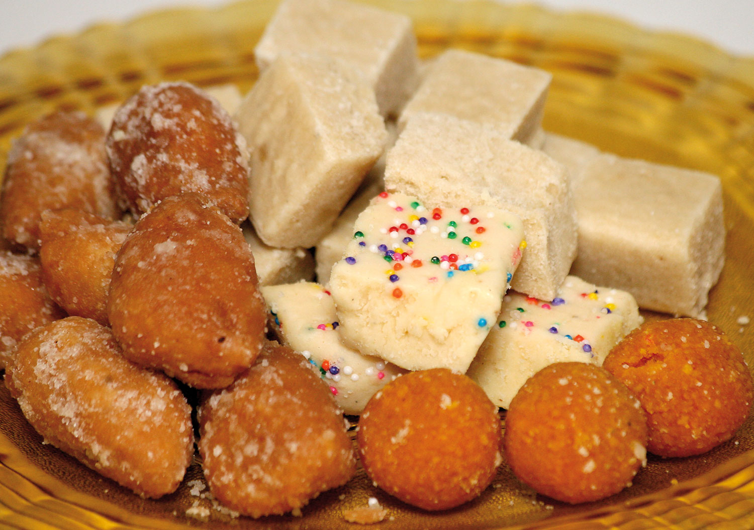 Indian sweets from Chennette's blog: gulab jamoon (left) and barfi. Photograph by Shirley Bahadur