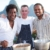 Sous chefs Barrington Douglas (left) and Hasan DeFour (right) with Rhodes. Photograph courtesy UKTV and Rhodes Across The Caribbean