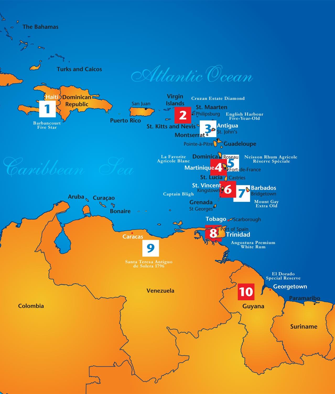 Caribbean Rum Map