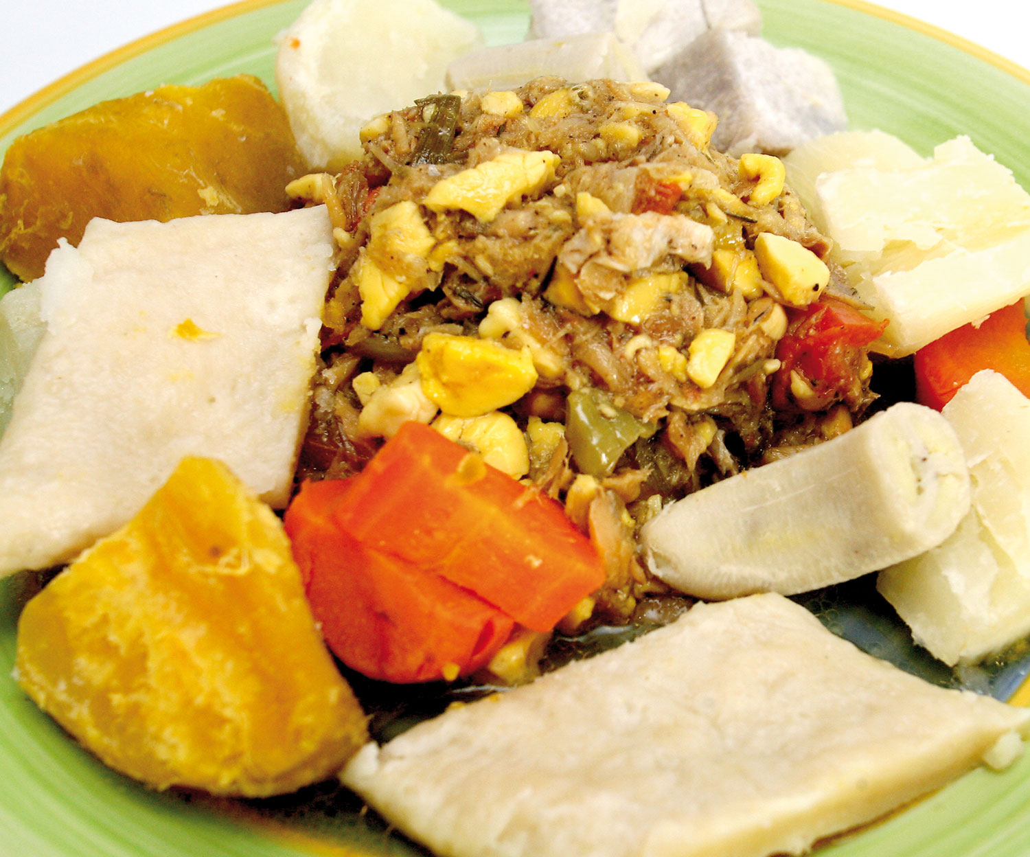 Ackee and saltfish with dumplings and provision. Photograph by Shirley Bahadur