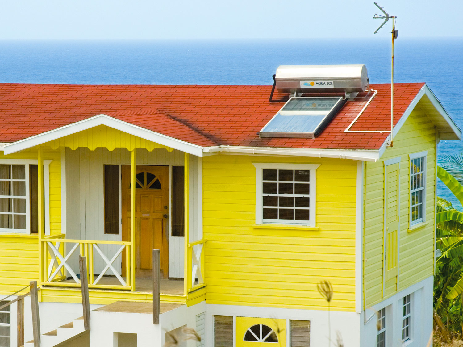 A house with a solar energy panel overlooking the Atlantic Ocean, St Joseph, Barbados. Photograph by Adrian Griffith
