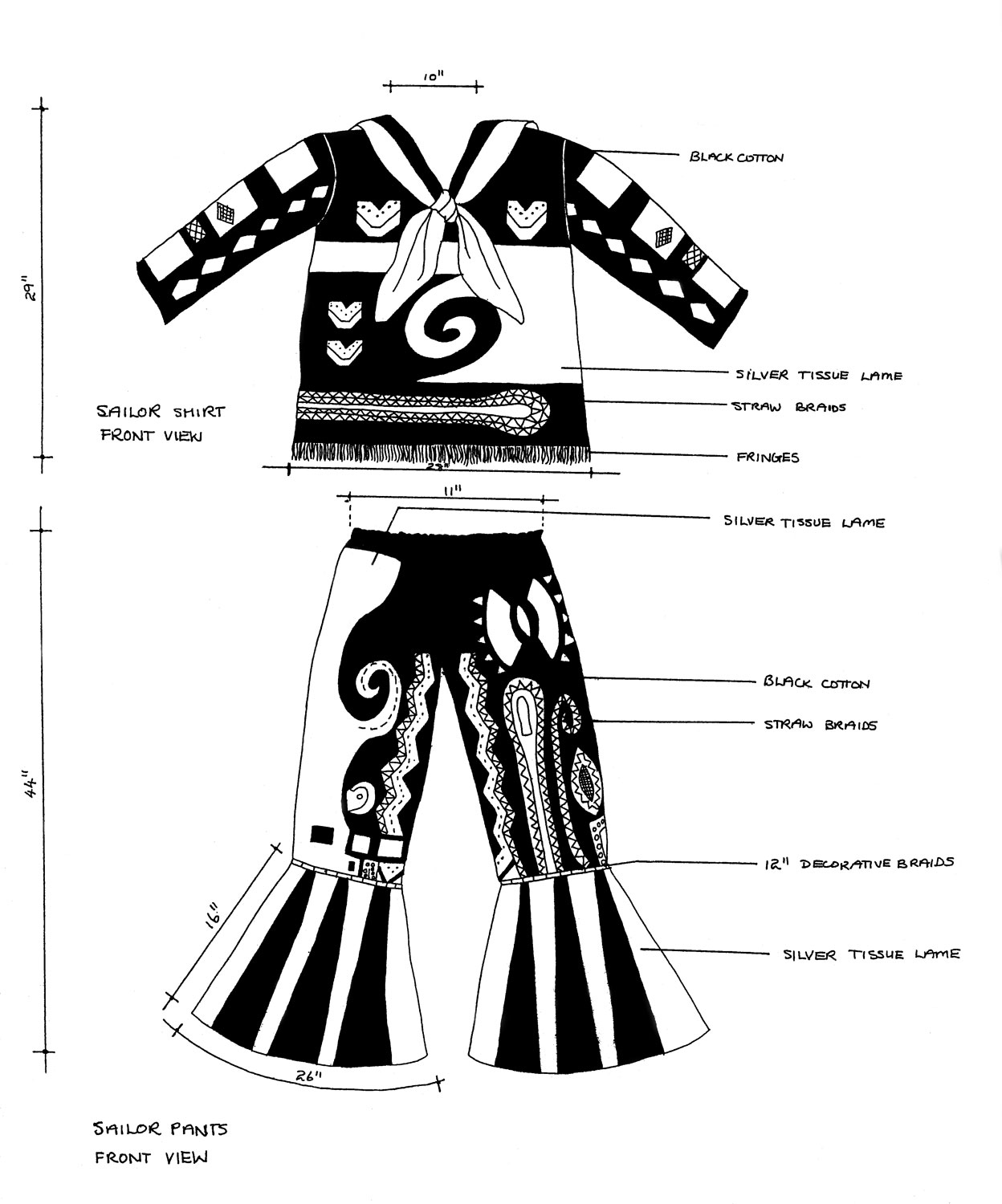 King Sailor costume, designed and decorated by Bill Trotman. Illustration courtesy The Carnival Institute
