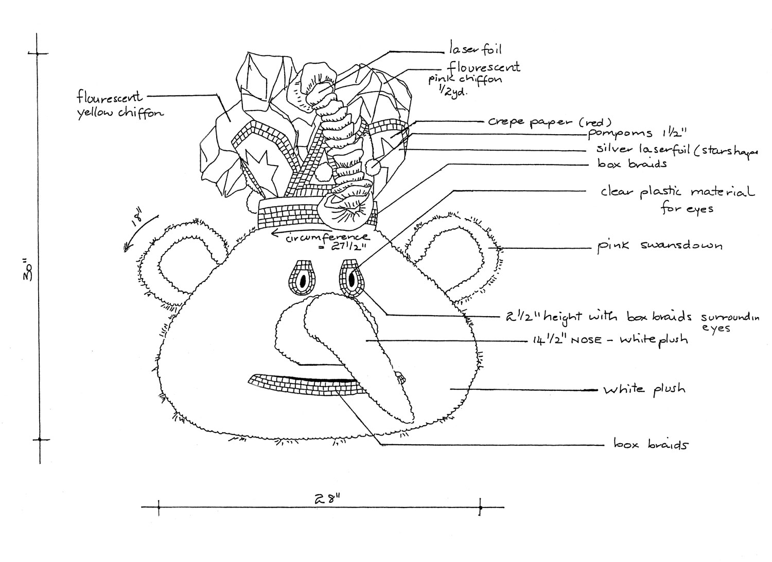 Blueprint for a King Sailor headpiece, designed and made by Bill Trotman. Illustration courtesy The Carnival Institute