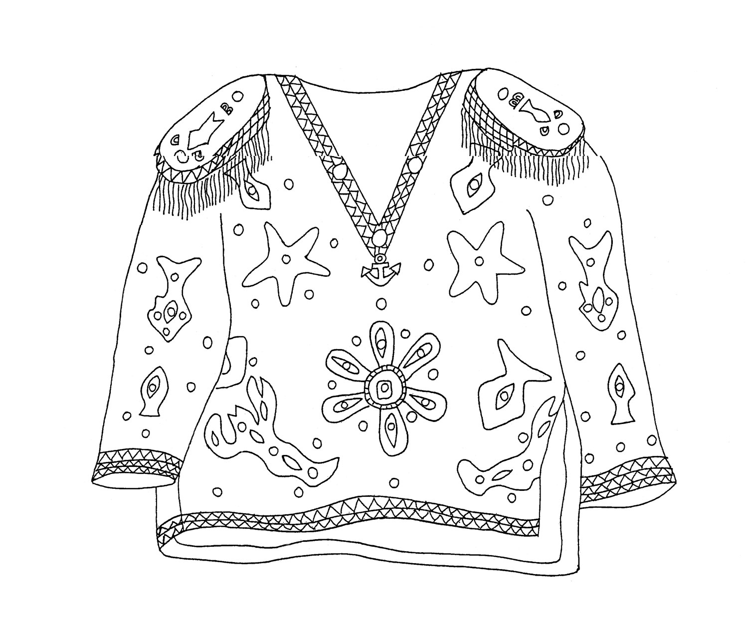 Sailor shirt design by Narcenio Gomez, front view. Illustration courtesy The Carnival Institute