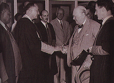 Sir Winston Churchill visits the Teaching Hospital. Photograph by UWI
