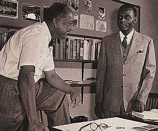 March 1955: vice principal of the University College, P. M Sherlock, left, and the registrar, H. W. Springer. Photograph by UWI