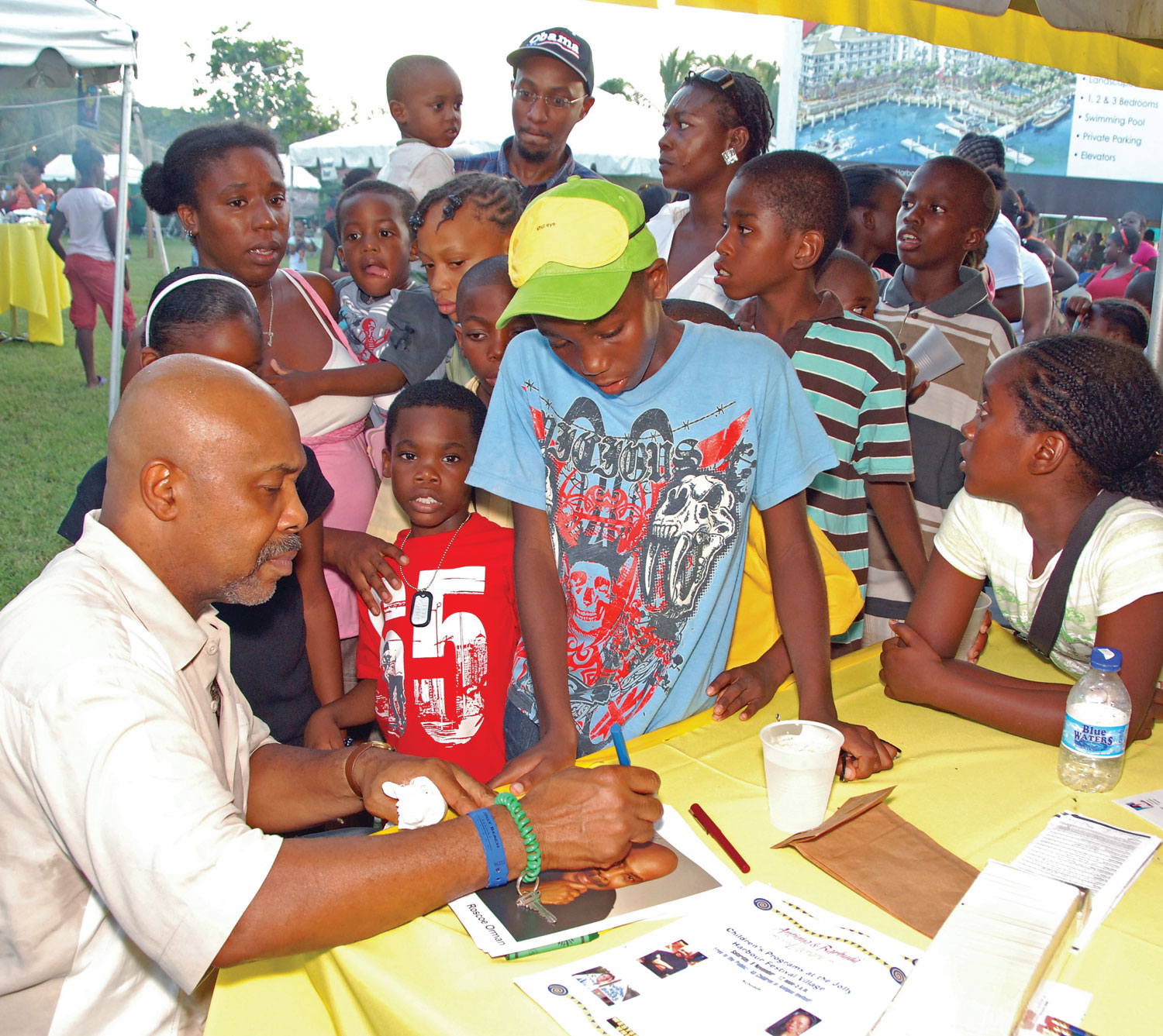 Roscoe Orman, who played Gordon on Sesame Street for many years, delighted children at the Antigua & Barbuda Literary Festival Village in November 2008.